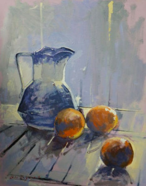 Still Life With Orange And Blue