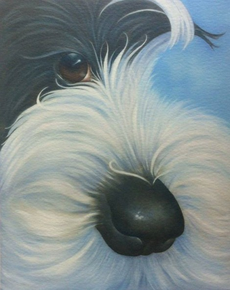 Charlie the tibetan terrier painting