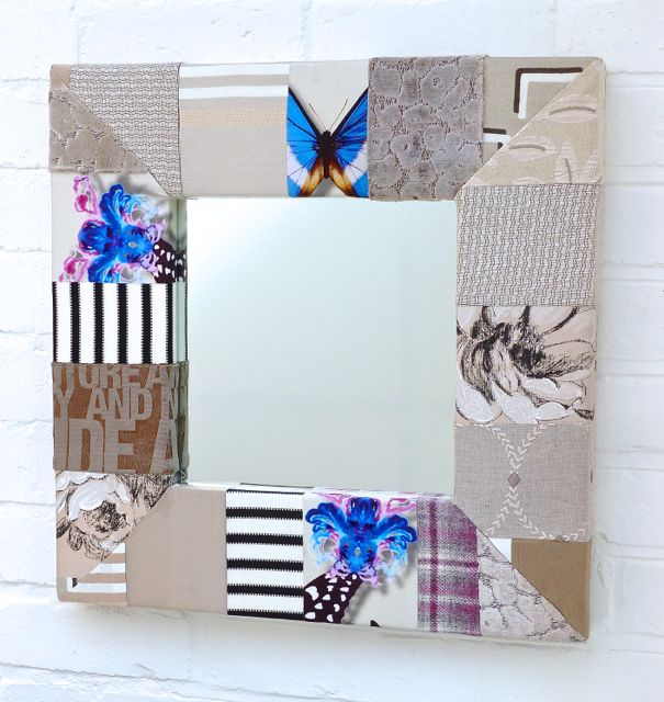 Taupes with splashes of Blue Patchwork Mirror
