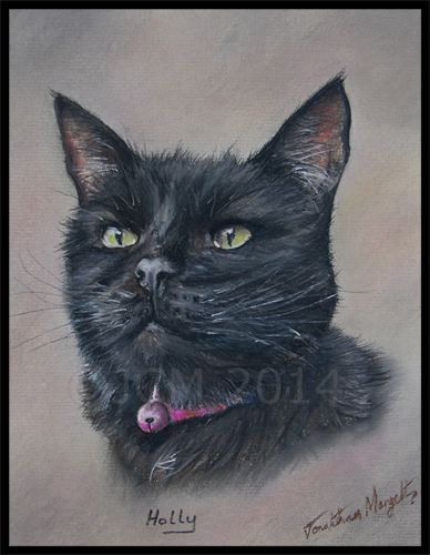 Black cat in pastels