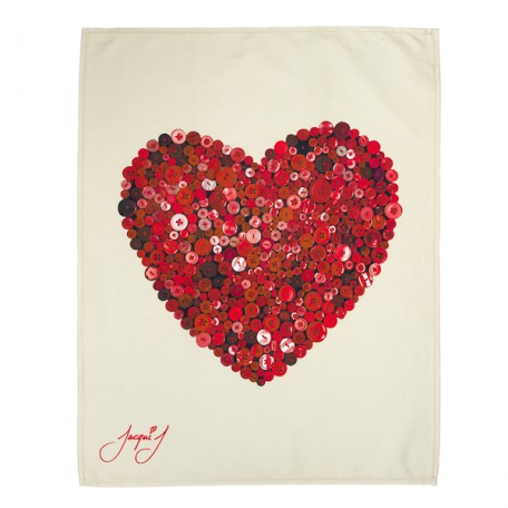 Button Heart Tea Towel Red