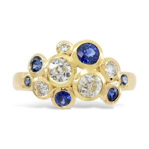 Gold Sapphire and Diamond Bubbles Cluster Ring