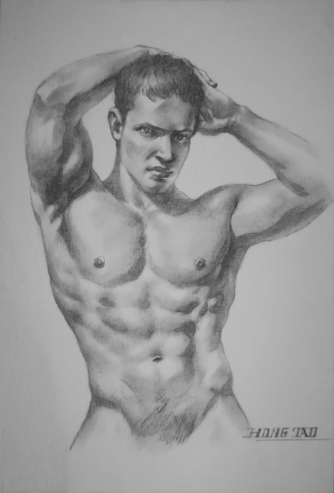 watercolor painting male nude#006