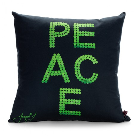 PEACE Button Print Cushion  Black