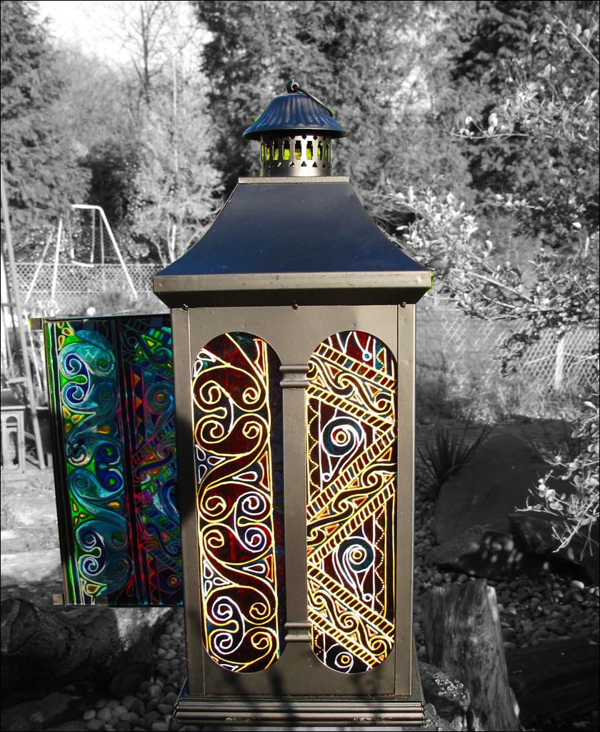 Hanging Candle Lantern HAND PAINTED GLASS Lantern Celtic Knots Sun Catcher Garden Ornament sun o