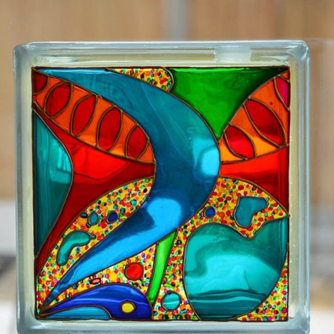 Abstract Glass Block Garden Sun Catcher Abstract Art