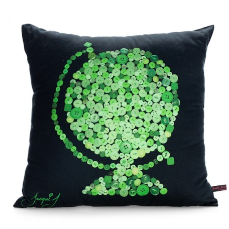 Globe Button Print Cushion  Black