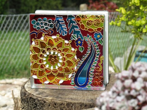 Dahlia Flower Painted Glass Block Garden Ornament Christmas Decoration Window Sun Catcher