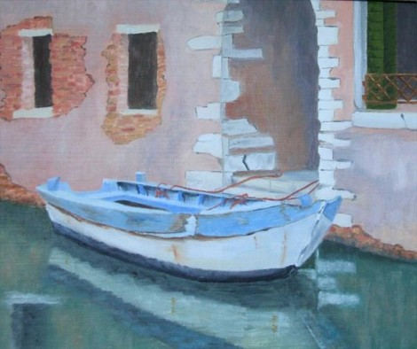 Moored Boat Venice  SOLD