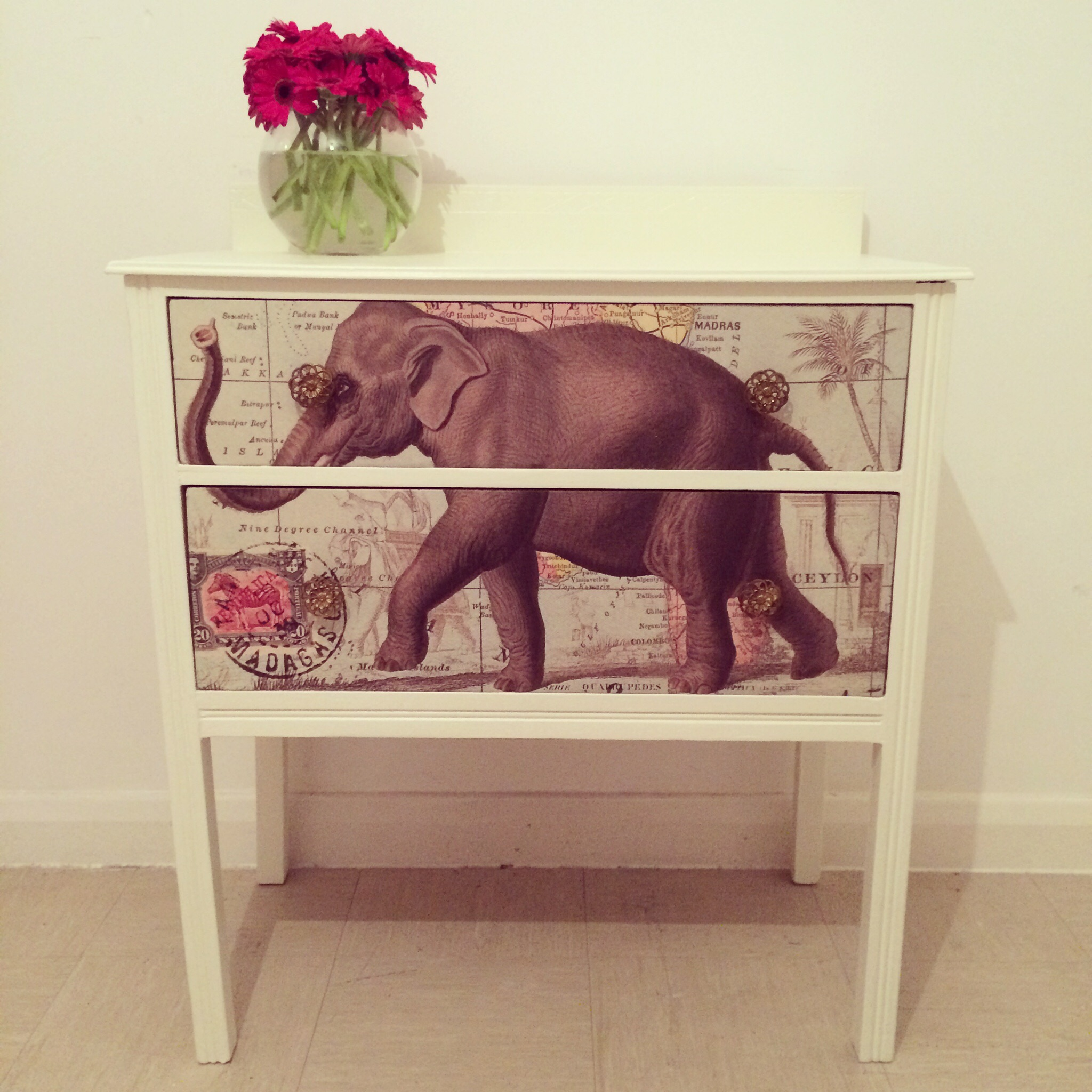 Upcycled Indian Elephant solid wood washstand.