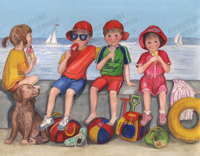 Children Sitting On A Wall At The Seaside