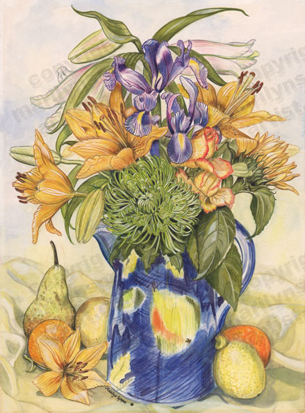 Blue Vase With Fruit
