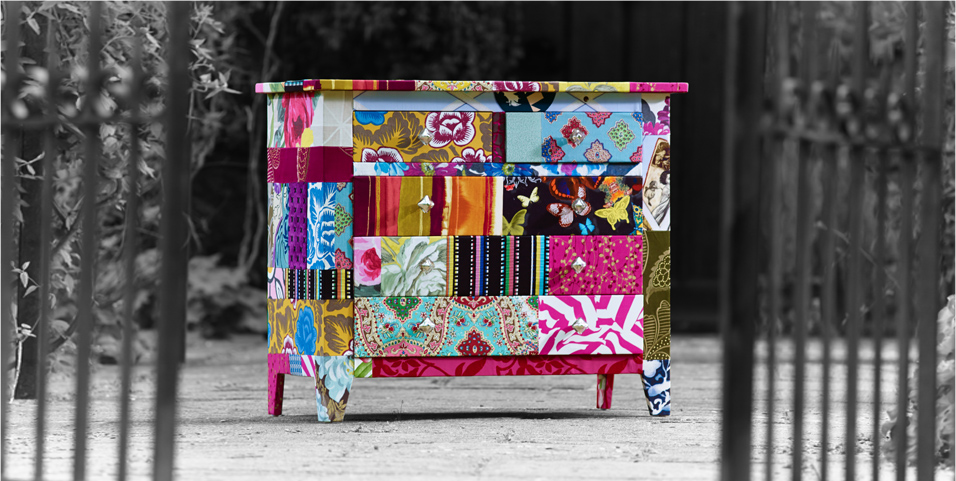 Adele Upholstered Patchwork Chest of Drawers