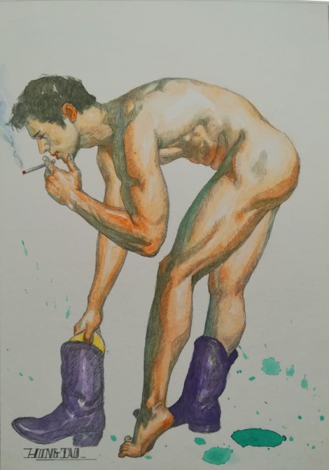 watercolor painting male nude#007