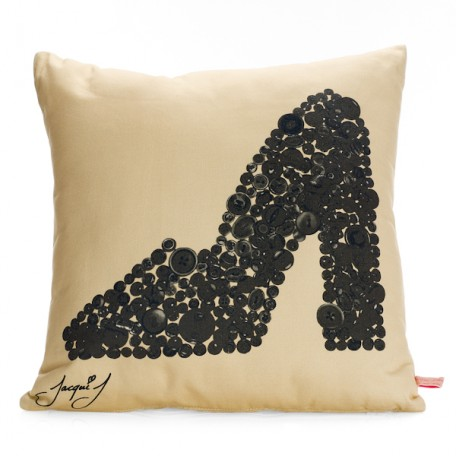Mary Jane Shoe Button Print Cushion  Soft Cream