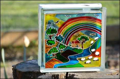 Rainbow Farm Glass Block Grazing Sheep in Fields Sun Catcher