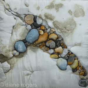 Curved Rock Pool - Hand Painted embroideredquilted silk textile