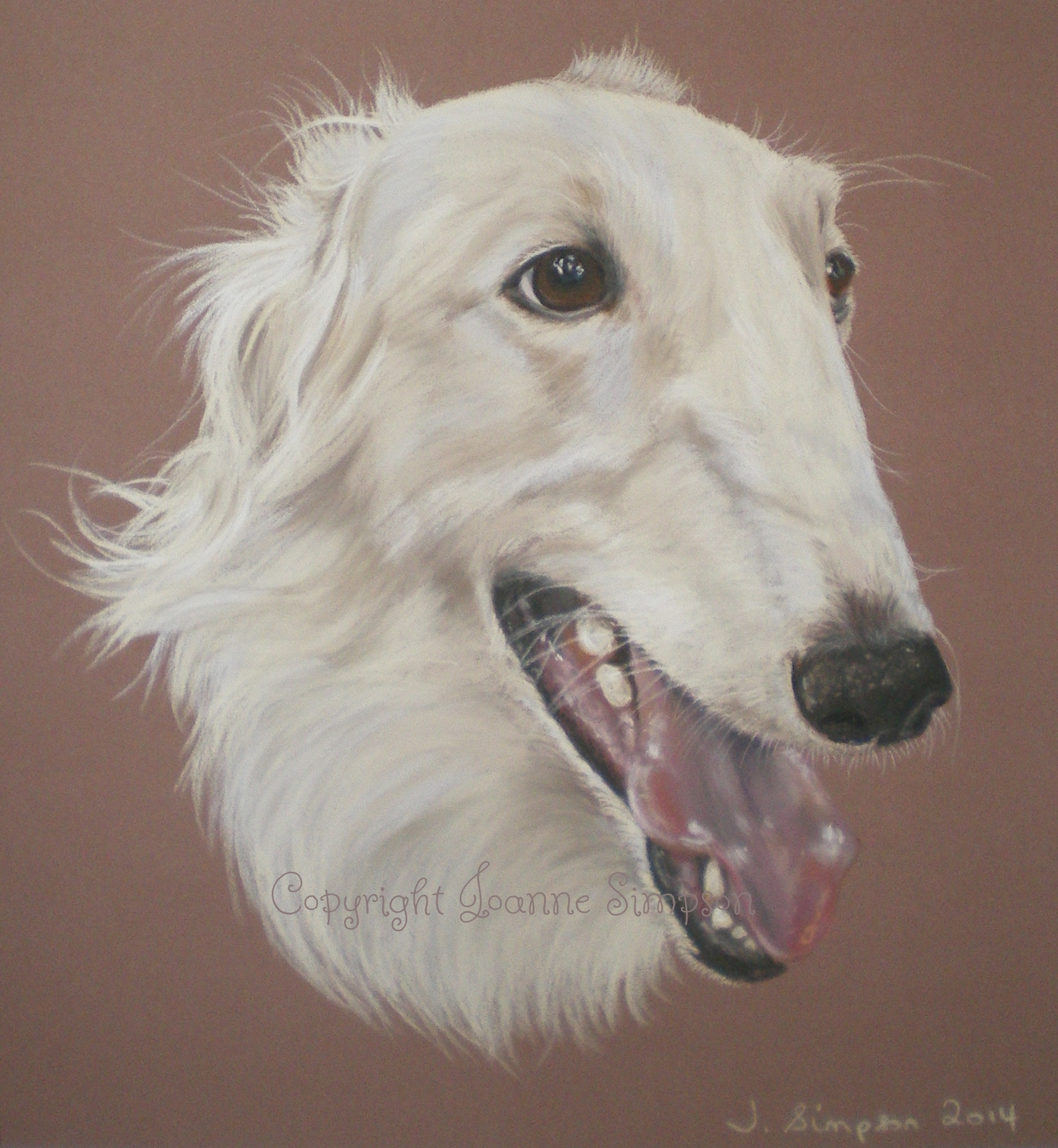Borzoi pastel pet portrait