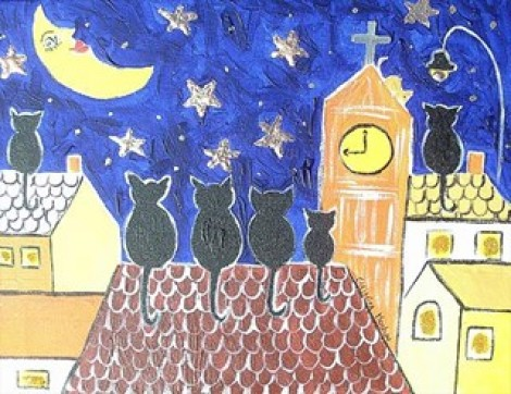 Cats Moon Gazing On A Roof Among The Stars