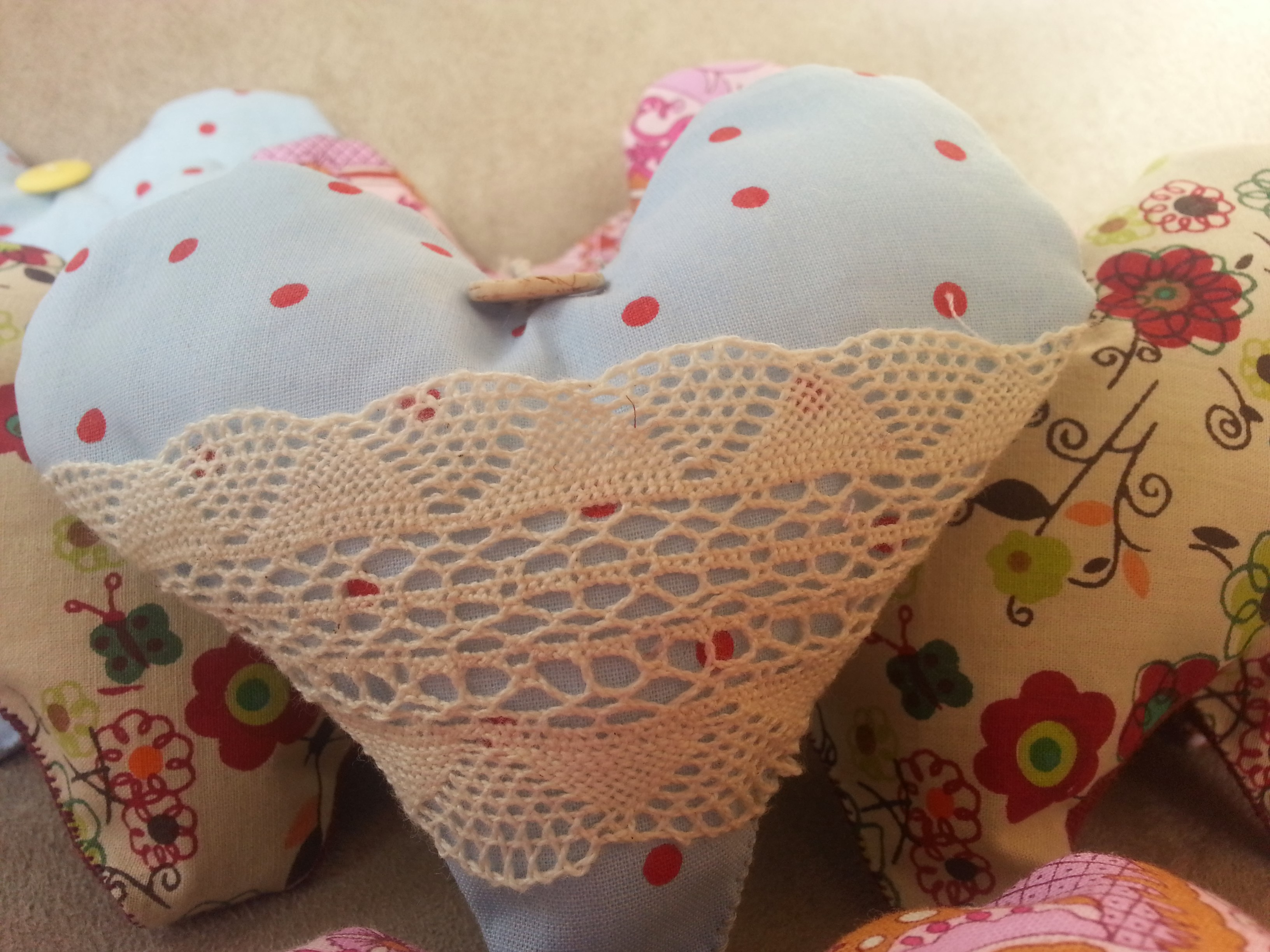 Hearts With Dotty Blue Highlighted