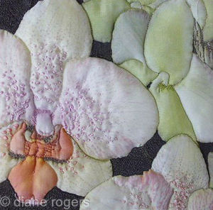 Orchid - Printed embroidered quilted silk textile