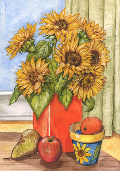 Sunflowers In Orange Vase