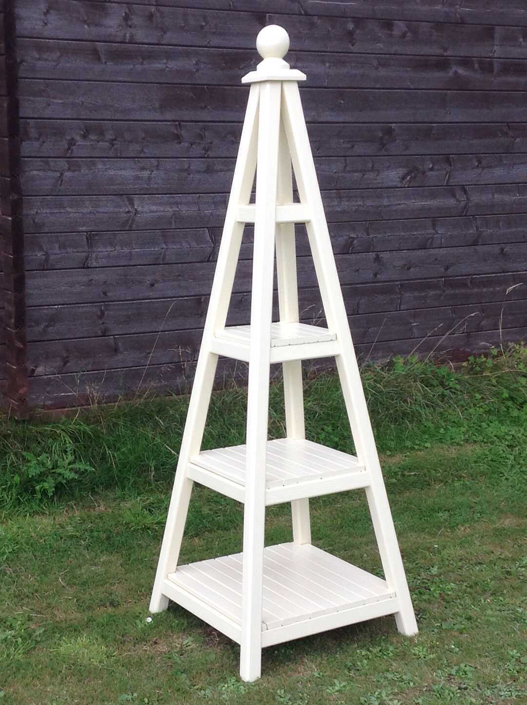 Wooden Obelisk with Shelves