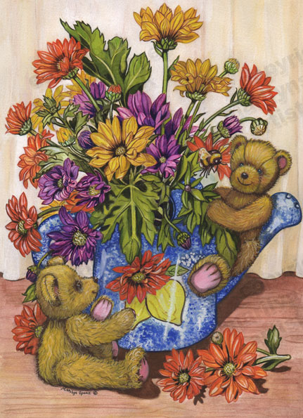 Teddies In Watering Can