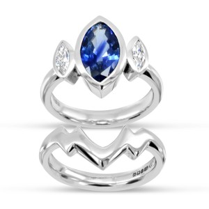 Marquise Sapphire and Diamond Trilogy Ring