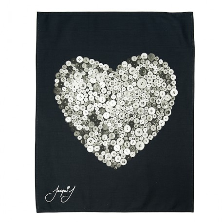 Button Heart Tea Towel White on Black