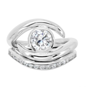 Platinum and Diamond Spiky Engagement and Fitted Diamond Wedding Ring