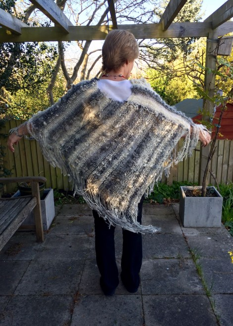 Hand spun and knitted poncho