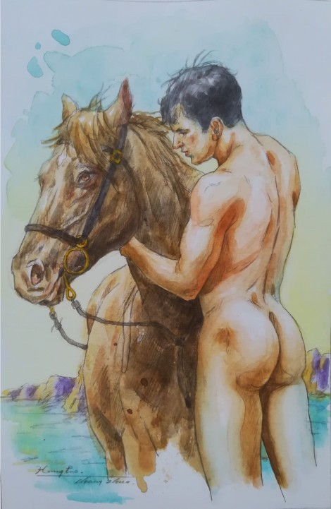 watercolor painting male nude003