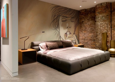 Bedroom with Style and stunning Wall Mural