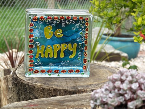 BE HAPPY Painted Glass Block hand painted recycled Be Happy Positive Message Home decor Night L