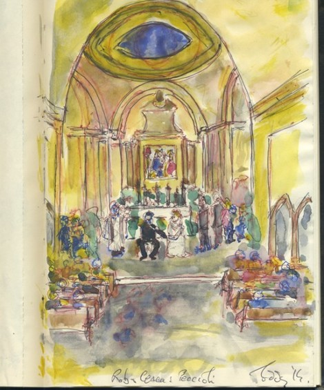 Wedding Interior Peccioli Italy Water colour