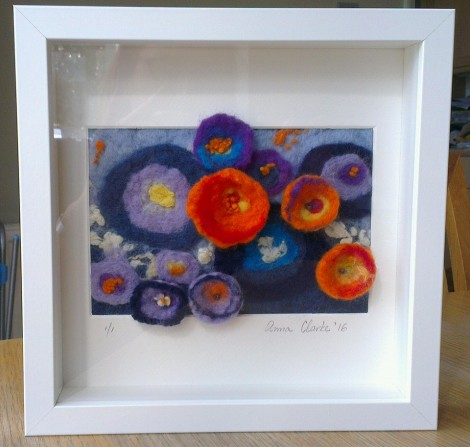 Hand crafted wet felted picture by Anna Clarke