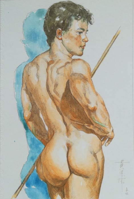 watercolor painting male nude009
