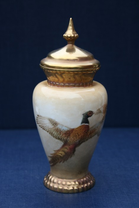 Flying Pheasant lidded vase
