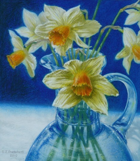 Daffodils in Blue Glass Jug