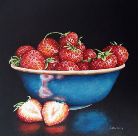 A Blue Bowl of Strawberries framed