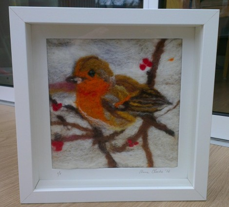 Winter robin hand crafted wet felted picture by Anna Clarke