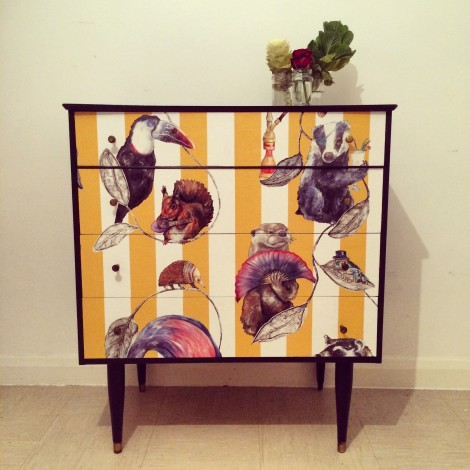 Upcycled mid century chest of drawers in House Of Hackney paper