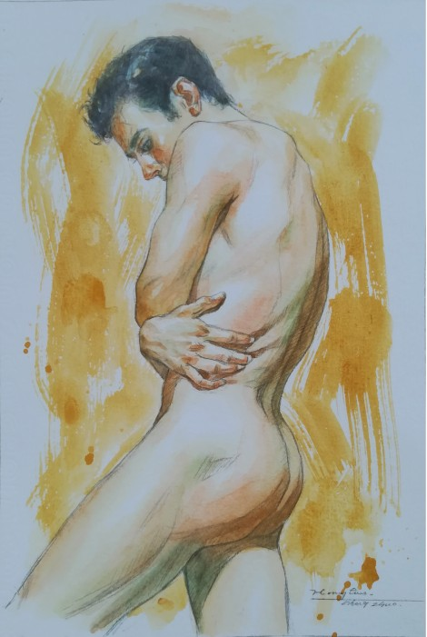 watercolor painting male nude002