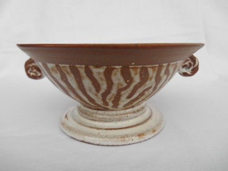 Zebra handpainted wheel thrown stoneware bowl