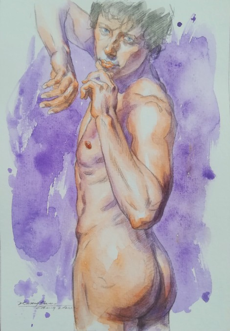 WATERCOLOR PAINTING MALE NUDE001
