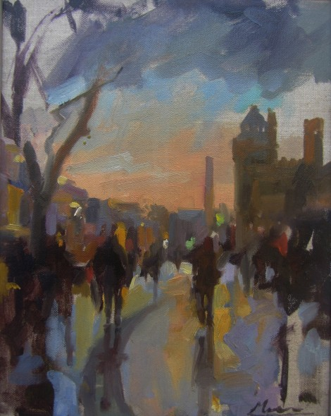 Rainy day in Cardiff 24x30 oil on canvas