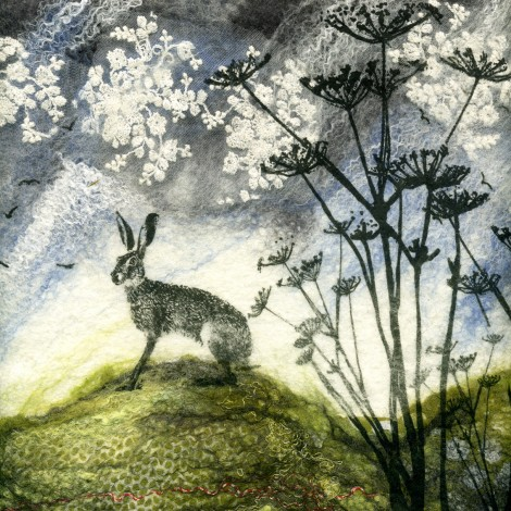 Hare and Hogweed Nuno Felt Picture