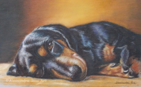 Dog Portrait - Oil Pastel painting