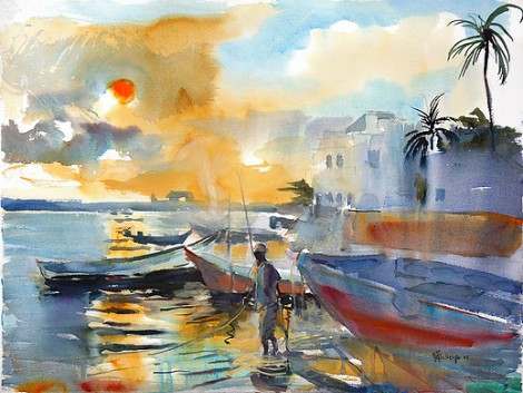 Lamu fisherman sunset